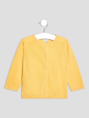 Gilet manches longues boutonne jaune moutarde bebef