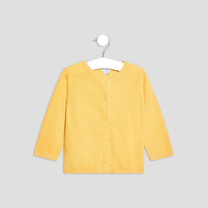Gilet manches longues boutonné bébé fille jaune moutarde