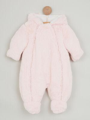 Combinaison a capuche zippee rose clair fille