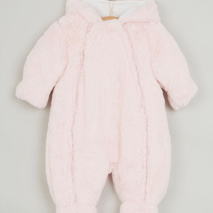 Combinaison à capuche zippée fille rose clair