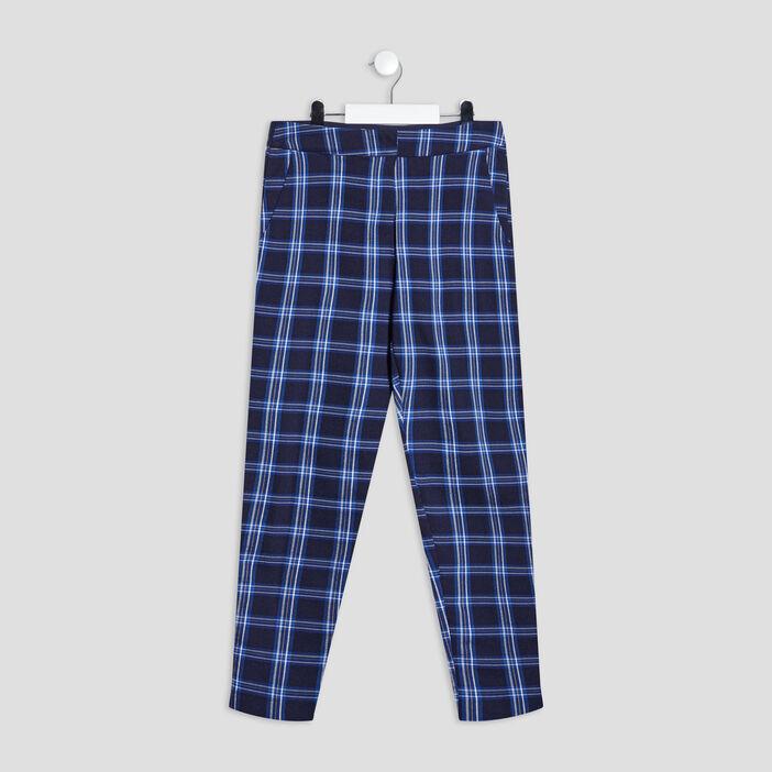 Pantalon droit élastiqué fille bleu marine