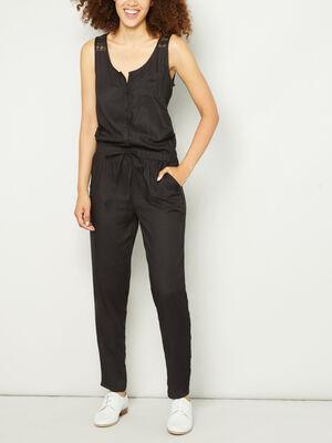 Combinaison pantalon col U noir femme
