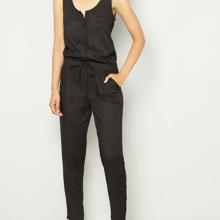 Combinaison pantalon col U femme noir