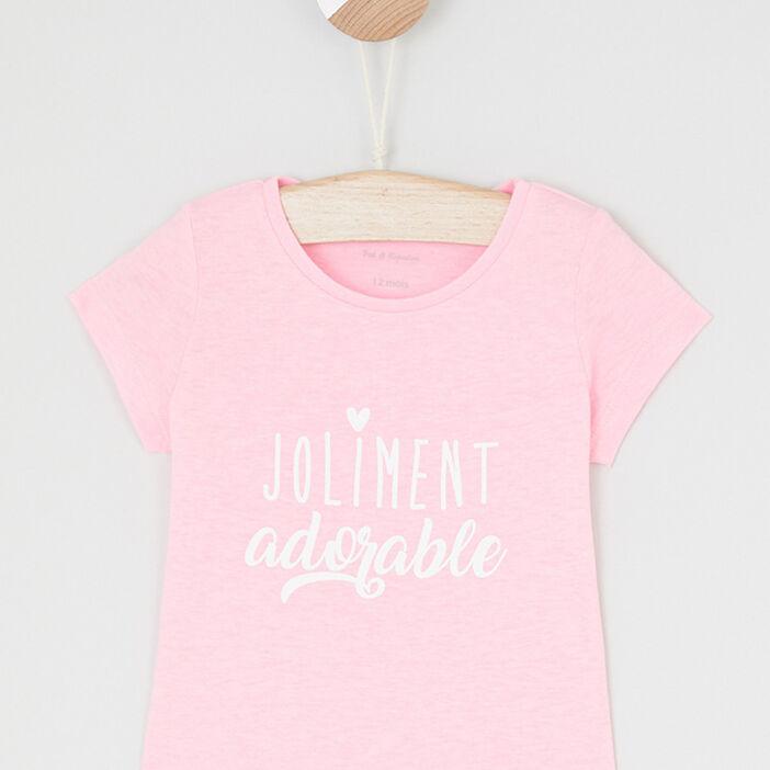 T-shirt message imprimé devant bébé fille rose fluo