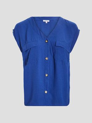 Chemise manches courtes bleu femmegt