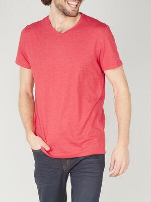 T shirt col V en coton rouge homme