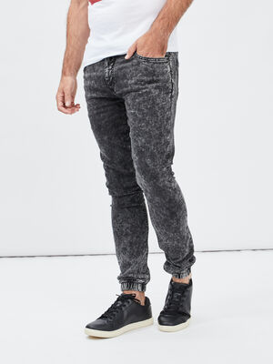 Jeans skinny taille a coulisse noir homme