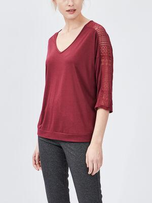 T shirt manches 34 bordeaux femme