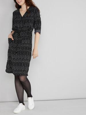 Robe imprimee coupe droite noir femme