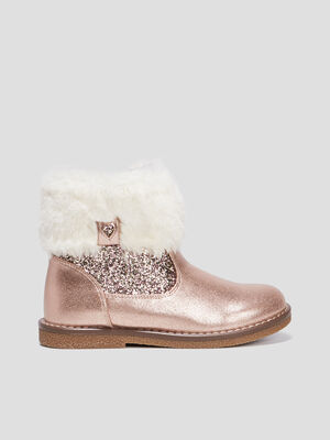 Bottines a paillettes rose fille