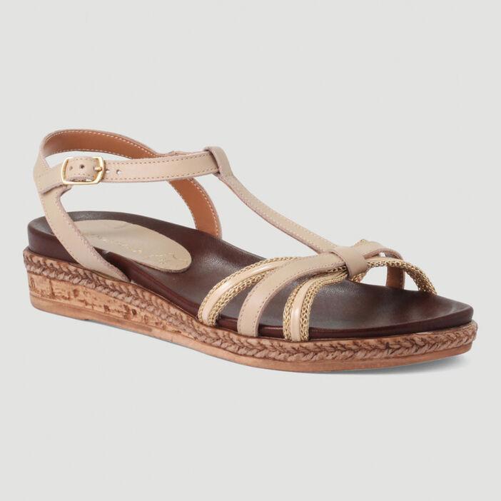 Sandales avec talon compensé femme beige