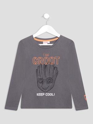 T shirt manches longues Groot gris fonce garcon