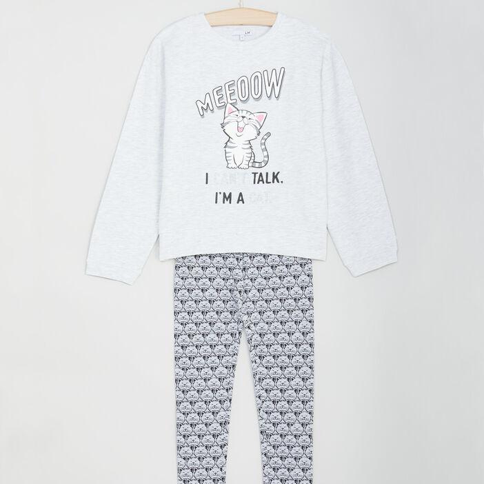 Pyjama long 2 pièces imprimé chat fille gris