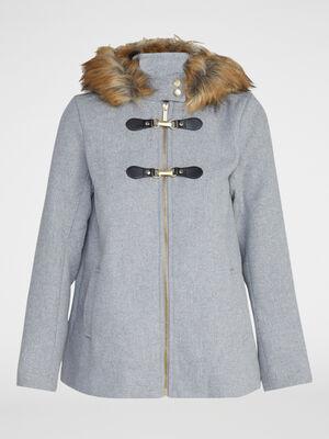 Manteau zippe evase avec capuche gris femme
