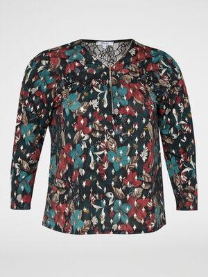 T shirt imprime zip au col noir femme