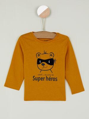T shirt imprime place devant jaune garcon