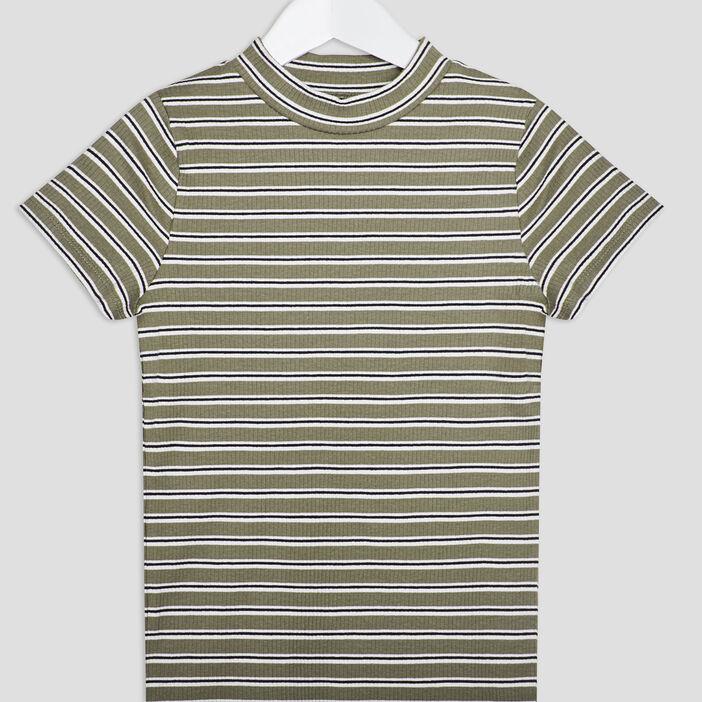 T-shirt manches courtes côtelé fille vert kaki