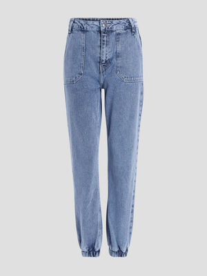 Jeans Mom denim bleach femme