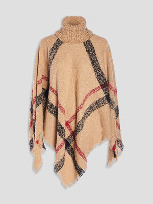 Poncho a col roule camel femme