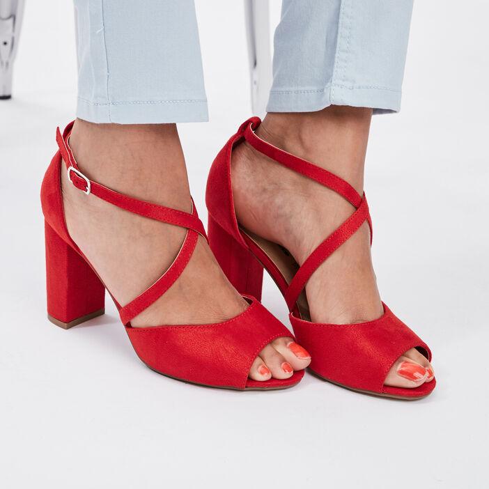 Sandales à bout ouvert femme rouge
