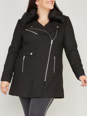 manteau fourrure synthetique noir femmegt