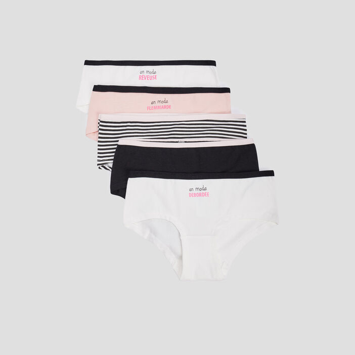 Lot 5 boxers fille rose