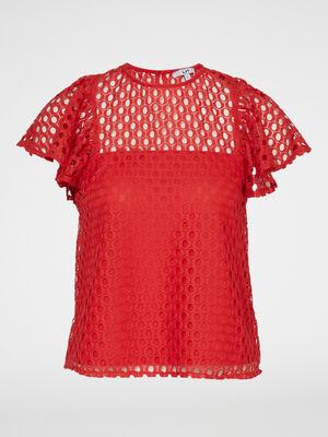Chemise manches courtes orange femme