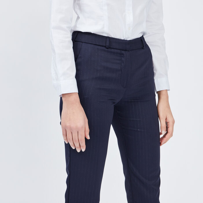 Pantalon droit 7/8ème femme bleu marine
