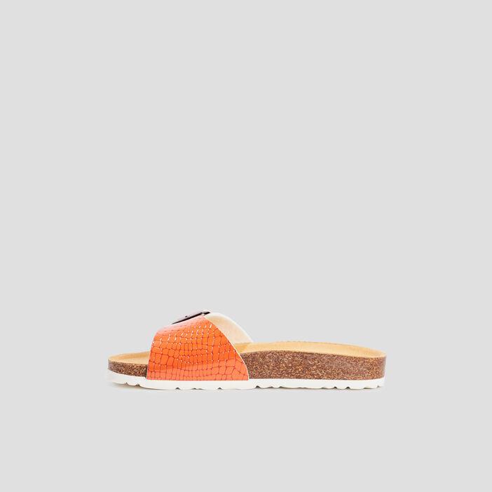 Mules avec boucles femme orange