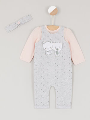 Ensemble combinaison 3 pieces gris bebe