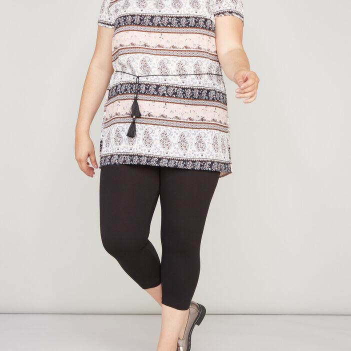 Legging court coton majoritaire femme grande taille noir