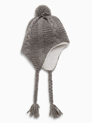 Bonnet peruvien avec pompon gris mixte