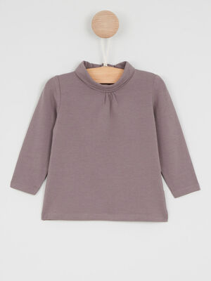 T Shirt col roule coton majoritaire taupe fille