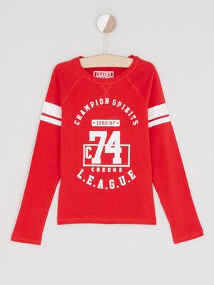 T shirt chine logo imprime rouge garcon
