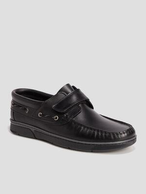 Chaussures bateaux en cuir noir homme