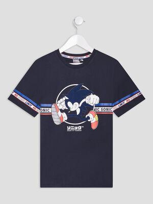 T shirt manches courtes Sonic bleu marine garcon