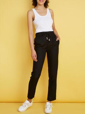 Pantalon droit fluide taille elastiquee noir femme