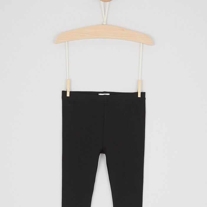 Legging uni coton majoritaire fille noir