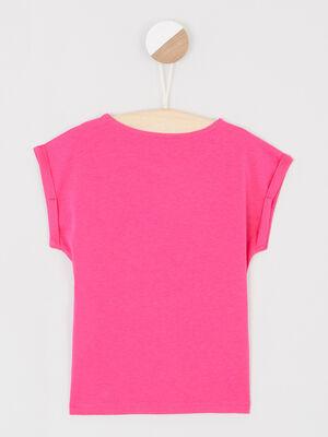 T shirt avec dessin place devant rose fushia fille