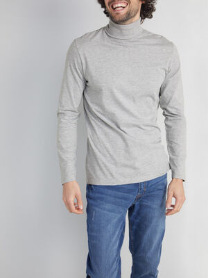 T shirt manches longues col cheminee gris homme