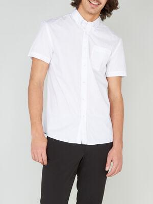 Chemise regular unie manches courtes blanc homme