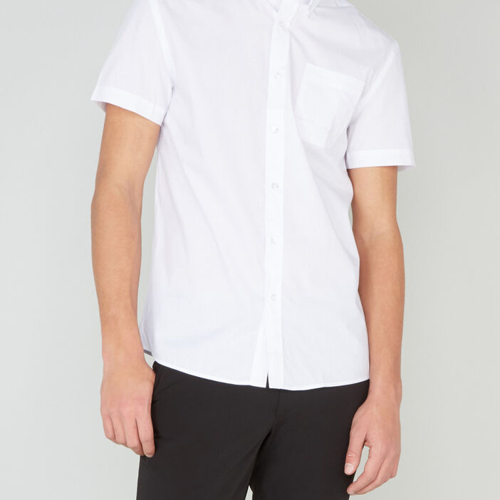 Chemise regular unie manches courtes homme blanc