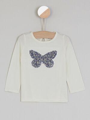 T shirt avec imprime papillon ecru fille