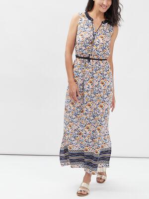 Robe longue droite ceinturee multicolore femme