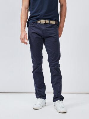 Pantalon droit avec ceinture bleu homme