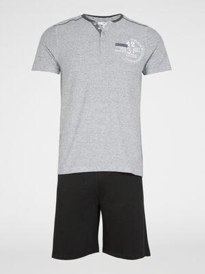 Pyjama court avec imprime gris homme