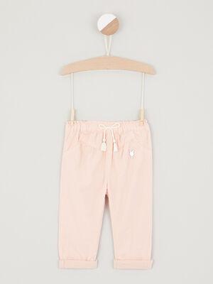Pantalon avec patch coton rose clair bebef