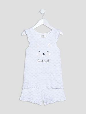 Ensemble pyjama avec short blanc fille