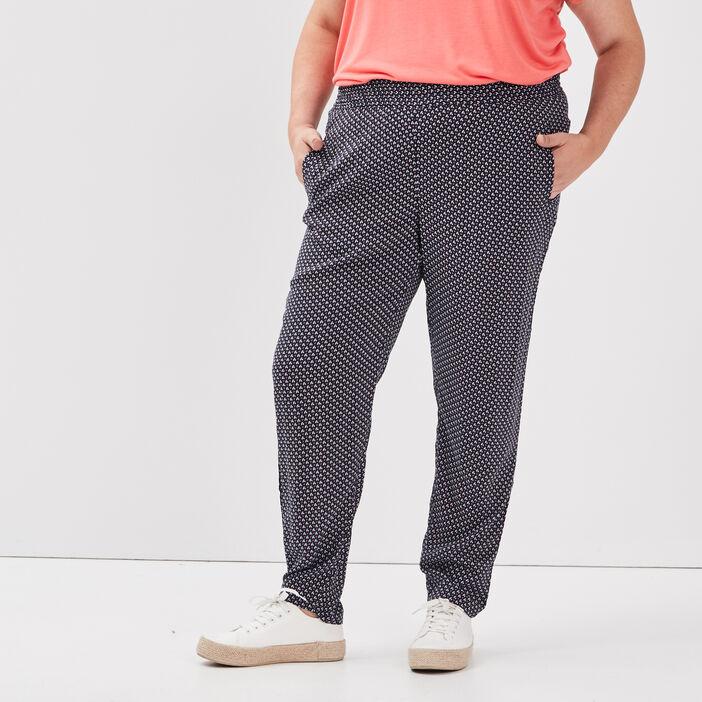 Pantalon carotte grande taille femme bleu marine