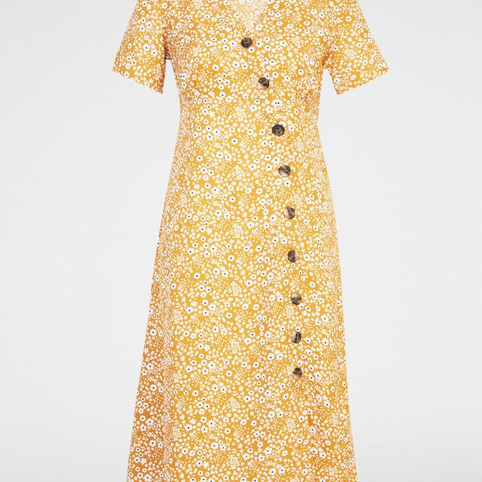 Robe à fleurs fermeture asymétrique femme jaune moutarde